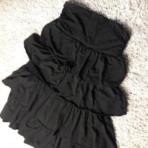 J. Crew Sleevess Ruffle Layer Dress S Black